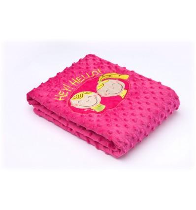 Sensillo kocyk Minky dwustronny różowy 75*100