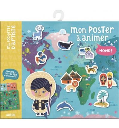 Mapa świata plakat i naklejki wielokrotne 3+ Auzou