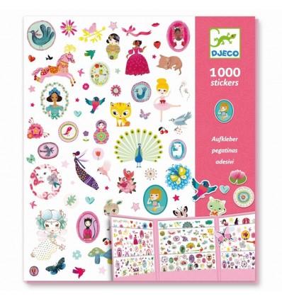Naklejki dla dziewczynek zestaw 1000 szt. Djeco 3+