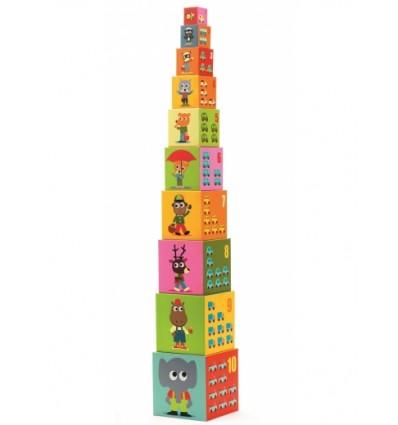 Piramida Wieża z klocków Miasto i Pojazdy Djeco