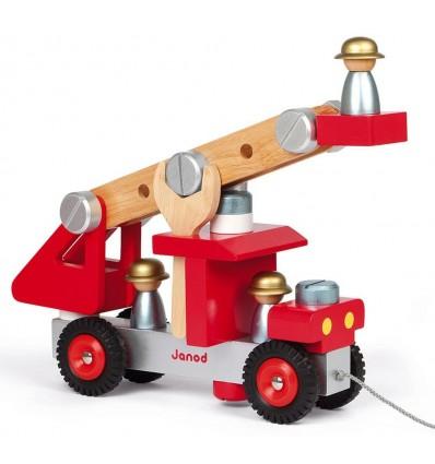 Drewniany Wóz strażacki do skręcania Janod 2+