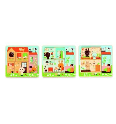 Puzzle trzy warstwy Domek Króliczków