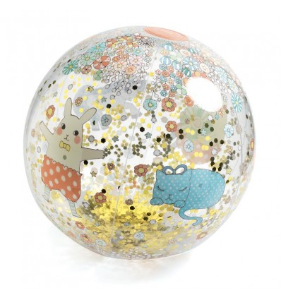 Piłka plażowa Kawaii z brokatem 35 cm Djeco 3+