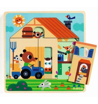Puzzle warstwowe 3 plansze Zagroda Gabi Djeco
