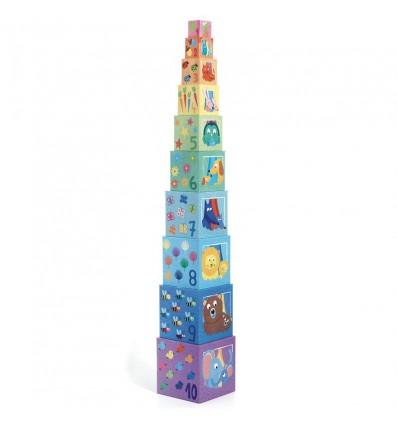 Piramida Wieża z klocków Tęcza Djeco 12 m-cy+