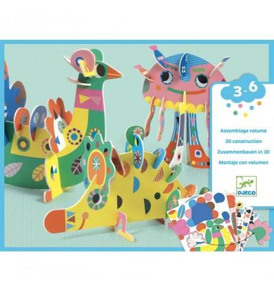 Zwierzątka puzzle 3D z naklejkami Djeco 3+