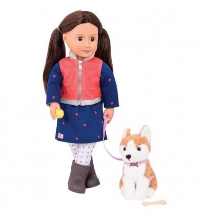 Lalka Leslie brunetka z psem Husky 46 cm Our Generation