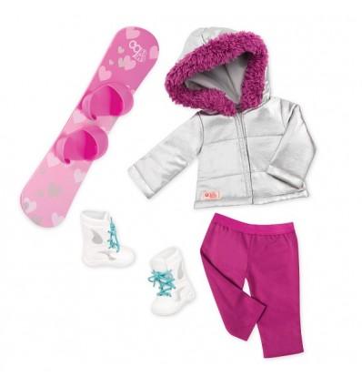 Zestaw ubranek stylizacja zimowa ze snowboardem dla lalek 46 cm Our Generation Our Generation