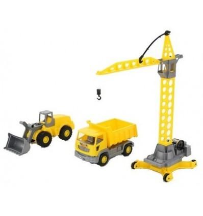 Zestaw pojazdów budowlanych z dźwigiem